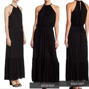NWT Theory Black Melaesa Drapey Maxi Dress